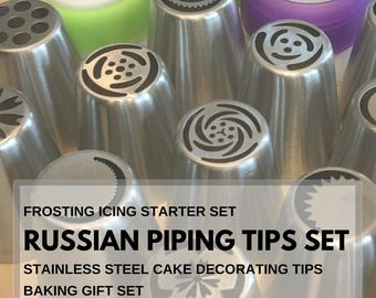Russian Piping tips set, frosting icing starter set, stainless steel cake decorating tips, baking gift set