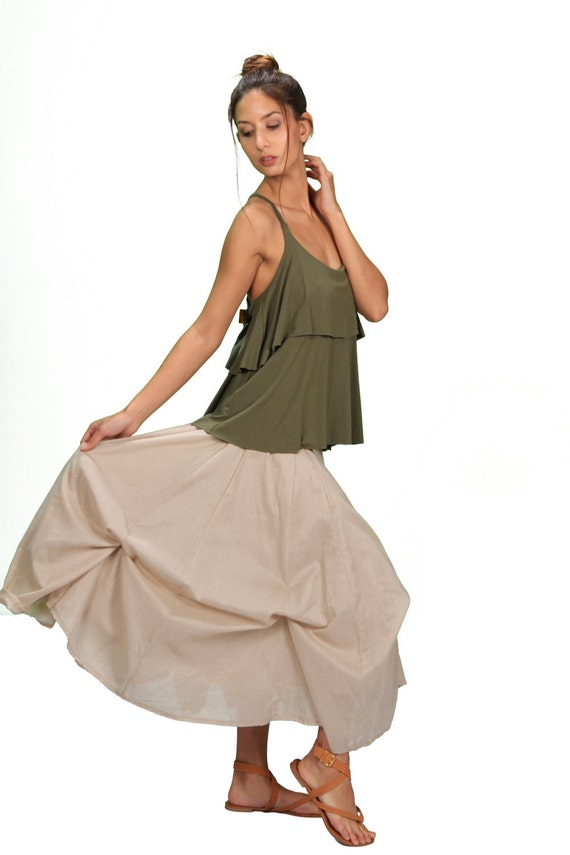 Spring Sale! Blooming Lotus Multiple Ties Adjustable Length Skirt In Cream for Womens Fall Fashion