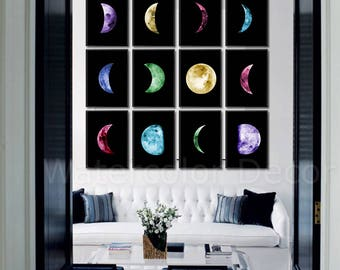 Moon Phases Watercolor Art Prints - Set of 12 Lunar Phases Prints  -  Moon Chart Posters - Housewarming Gift