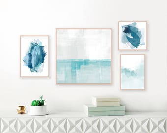 Blue and White Abstract Art, Gallery Wall Art, Set of 4 Prints, Framed Prints, Calming  Feature Wall Paintings, Nursery Art, Contemporary