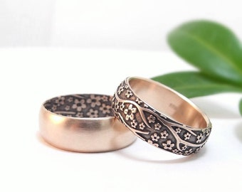Rose Gold Wedding Band Set Mens Wedding Ring Set Womens Wedding Band Womens Wedding Ring Cherry Blossoms Domed Half Round Gold Wedding Ring