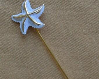 On sale Pretty Vintage White, Gold tone Starfish Stick Pin, Beach, Nautical, Tropical (E15)
