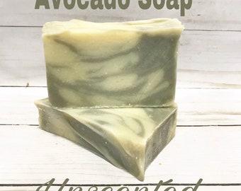 Avocado Soap, Unscented soap, natural soap, all natural soap, vegan soap, Father's Day gift, gender neutral soap, sensitive skin soap