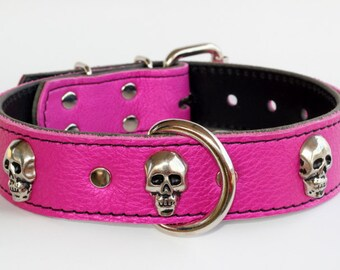 """Pink Leather Skull Collar - Skull Leather Dog Collar - 1-1/2"""" Italian Pink Leather Dog Collar - Leather Skull Dog Collar - Made In Usa"""