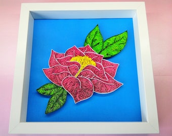 Quilling Flower Art on Paper / Frame - Paper quilled wall art