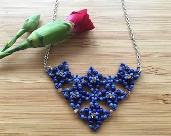 Unique Heart Necklace - Royal Blue Collarbone Necklace Unique Necklace - Royal Blue Jewelry - Heart Jewelry - Unique Heart Jewelry