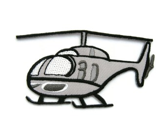 Grey Helicopter Embroidered Applique Iron on Patch