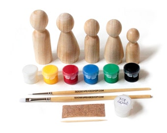 Fair Trade DIY Wooden Peg Doll Kit // Kids Complete Art Craft Kit // Kids Birthday Gift - party favor handmade craft kit
