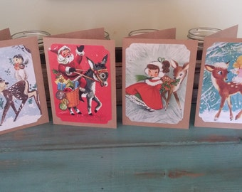 Holiday vintage Christmas Cards Santa clause Christmas Cards Set Christmas Cards Rudolf cards set of 8