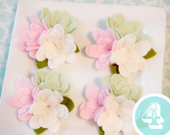 Wool Felt Flower Trio with or without leaves Pastels