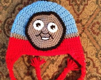 Thomas the train crochet hat, kids winter hat, kids crochet hat, train hat, boys hat