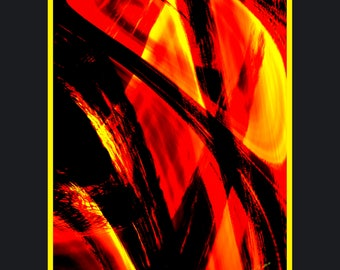 "Forest Fire. An Abstract Gallery Print. Size - 16"" x 20"". Stunning and Beautiful"