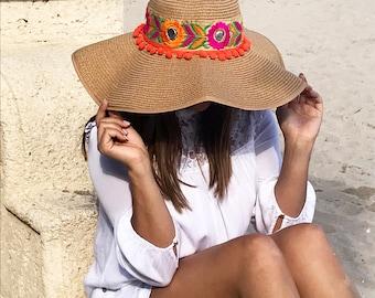 Handmade unique women beige and orange fashion floppy sun hat. Floppy Hat for summer.