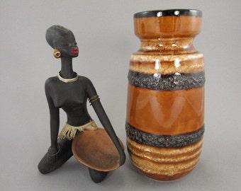 Vintage vase / Scheurich / 242 22 / brown / Fat Lava | West German Pottery | 60s