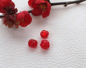 Set of 2 color red 10 mm with silver leaf encrusted barrel glass beads