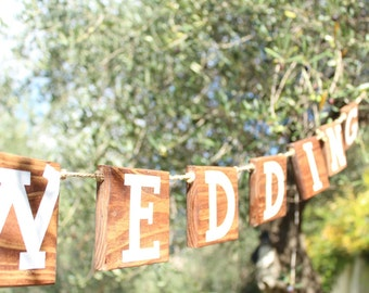 """""""Happy Wedding"""" style wooden Garland flags, flags of pallet, country wreath"""