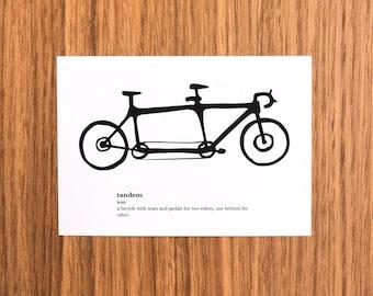 Tandem Definition Mini Print Postcard - Bicycle, Bike, Cycling, Art Print, Card, Gift