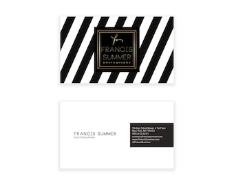 Black & White Chevron Business Card Design - Striped Business Card - Premade Business Card - Printable Business Calling Card Graphic Design