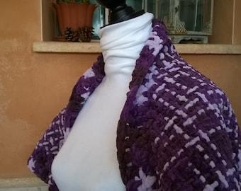 Shawl, knitted bolero, short knit jacket, shawl, short sleeve, weaving in loom, handmade, handmade, handmade, original gift