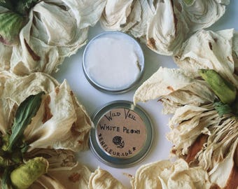 White Peony enfleurage. vegan, organic, botanical solid perfume. fragrance extraction by hand. rare! limited quantity. **PRE-ORDER**