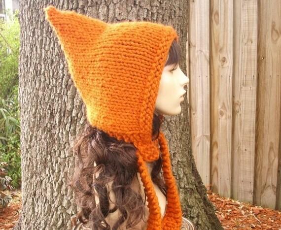 Knit Hat Orange Womens Hat - Pixie Hat in Pumpkin Orange Knit Hat - Womens Accessories Orange Hat Orange Pixie Hat