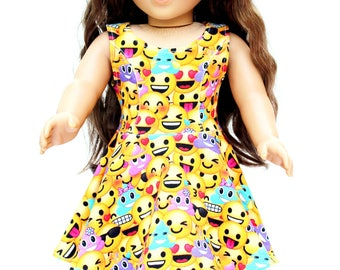 Fits like American Girl Doll Clothes - Emoji Skater Dress - FREE Emoji Gift Wrap,  Made To Order | 18 Inch Doll Clothes