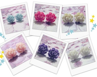 Clip On Earrings - Jewelry Gift Set -  3 Pair - Spring Flower - Vintage Style Rose Clip On Earrings - Choose Your Colors