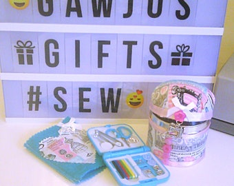 Novelty Sewing Gift Set, Pin Cushion Tin ,  Needlecase + Sewing Kit, Sewing Gift Set, Retro Sewing Set, Seamstress Gift, Mothers Day Gift
