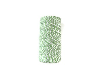 Lime Green and White Baker's Twine, Lime Green Baker's Twine, Bright Green Baker's Twine, Chunky Twine, Bright Green Twine, 100 Yard Spool