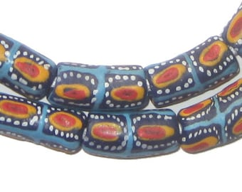 35 Ghana Glass Beads - Krobo Beads - Blue Red Eye - African Glass Beads - Jewelry Making Supplies - Made in Ghana ** (KRB-ELB-MIX-286)