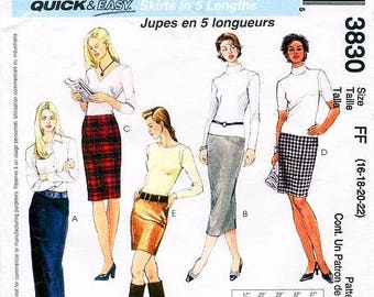 Sz 16/18/20/22 - McCall's 3830 Misses' Pencil Skirt in Five Lengths - Quick and Easy Skirt Pattern