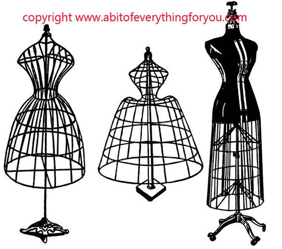 wire mannequins dress forms printable fashion art clipart png download digital vintage image graphics digital stamp silhouette artwork
