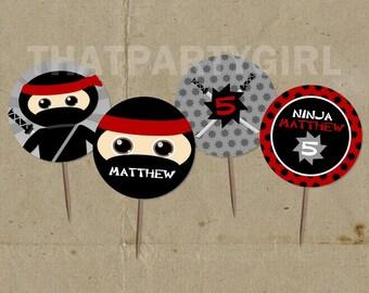 Ninja Birthday Party Cupcake Toppers Favor Tags - DIY Digital U Print