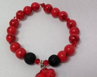 Essential Oil Diffuser Stretch Bracelet of Red Turquoise and Lava Rock Beads with Crystal Accents and Crystal Flower Charm