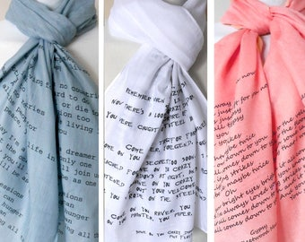 Customised Lyrics Scarf. Music lyrics scarf. You choose your song and i'll print it for you! Poetry scarf.