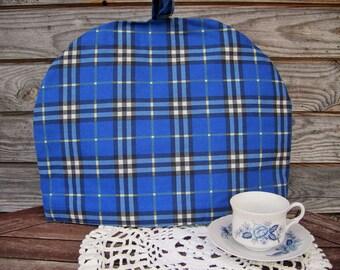 Plaid Coffee Pot Cozy, Polyester/ Cotton Cozy, Plaid, Blue,  Coffee Pot Warmer, Handmade, Large Size,