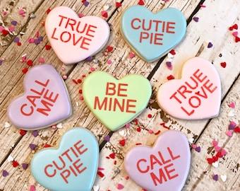 Valentine Cookies | Conversation Heart Cookies | Conversation Hearts | One Dozen