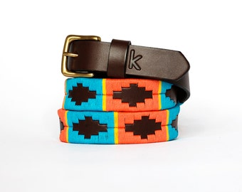 Argentinian leather polo belts - BLUE YELLOW ORANGE - Embroidered manually - Natural tanning - Woman model - Kamyno
