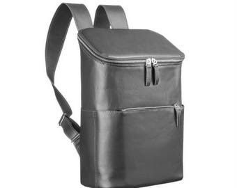 Roomy leather backpack