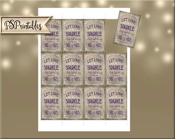 """Let Love Sparkle Sparkler Send Off Tags - 2x3"""" Print your own 12 per page - Printable tags - Old Lace Collection"""