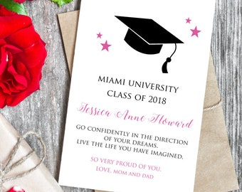 Graduation Card.  Personalized with names, year, school, colors, etc. All Cards BUY 2 GET 1 FREE!