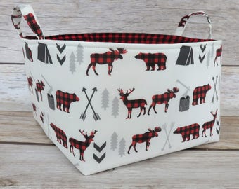 Bear Moose Deer Fabric - Red Black Buffalo Checks Plaid Woodland Trees Camping Arrows- Diaper Caddy Storage Organizer - Basket Bin