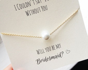 FREE SHIPPING, Pearl Necklace, will you be my bridesmaid, bridesmaid proposal, ask bridesmaid, bridesmaid necklace, gold pearl necklace