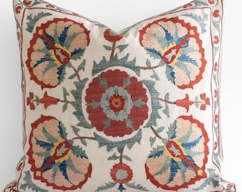 SALE! Handmade Silk Embroidery Suzani pillow, suzani pillow cover, suzani bedding, suzani pillows, designer pillow, Fall Pillow Cover