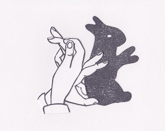 Shadow Puppet - Linocut Print Rabbit with Paper Craft Hand - Framed