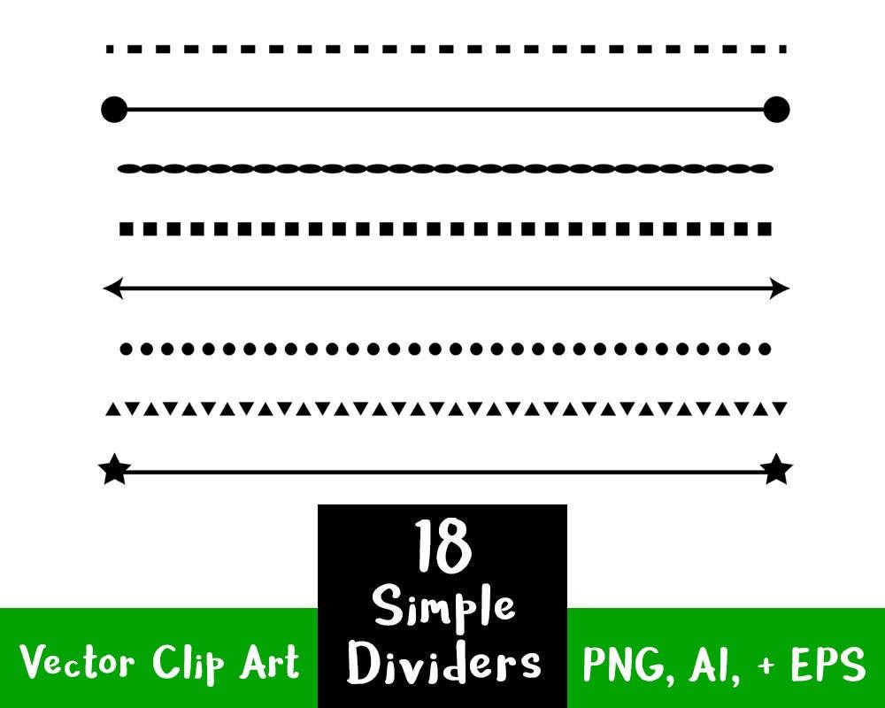 Simple One Line Text Art : Simple shape line dividers clip art text