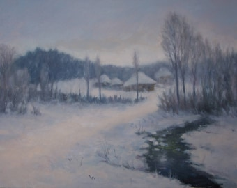 Winter Landscape -original oil painting, landscape oil artwork