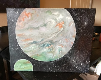 planet space abstract acrylics universe stars pour paint