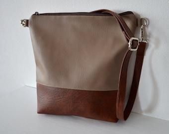Two-tone Crossbody Bag, Everyday Shoulder Bag Purse