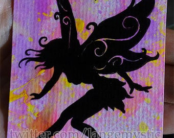 ACEO Card ORIGINAL neon Painting Sketch Shadow Fairy Fly PSC 1/1 fairy Girl